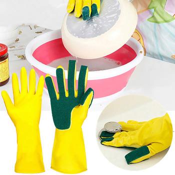1 para kreatywne domowe mycie rękawice do sprzątania ogród kuchnia danie z gąbką na palcach gumowe rękawice do sprzątania gospodarstwa domowego do zmywania naczyń tanie i dobre opinie Średni RUBBER 70-100g Household Cleaning Gloves Silikonowe Czyszczenie
