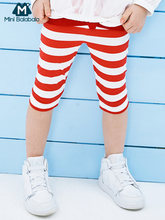 Mini balabalaGirls leggings 2019 summer new children baby striped thin section safety pants(China)