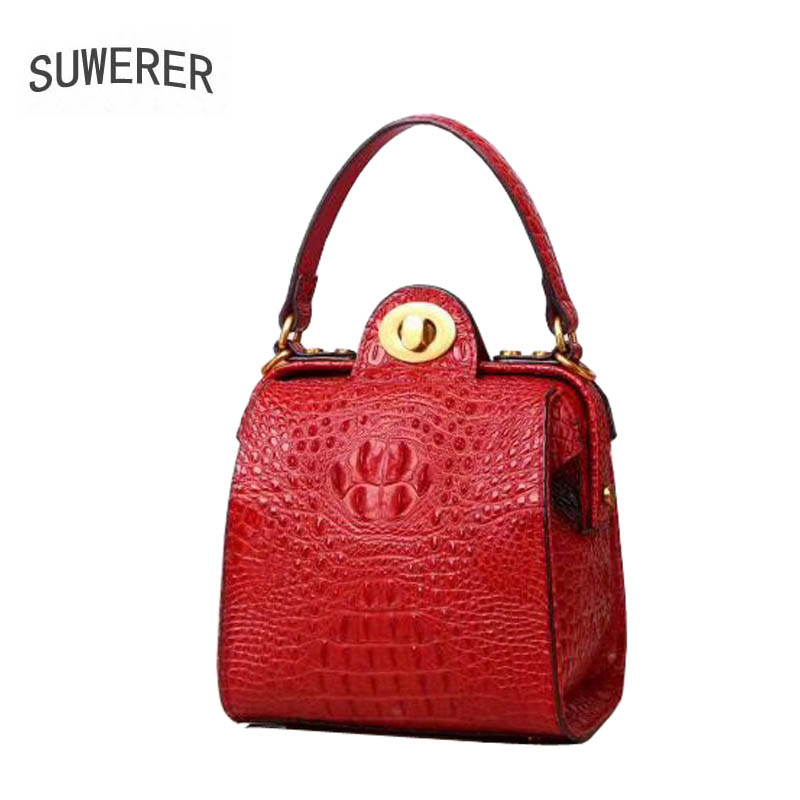 SUWERER2018 new 100% high quality luxury fashion luxury leather crocodile pattern shoulder bag brand name products new luxury brand 100