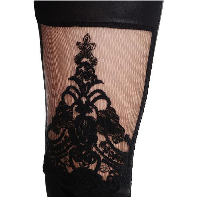 Punk Black Lace Up Faux Leather Gothic