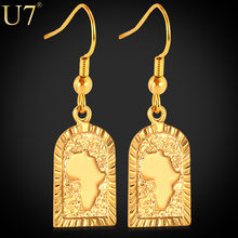 U7 African Jewelry Drop Earrings Wholesale Gold Plated Hiphop Africa Map Earrings For Women E470