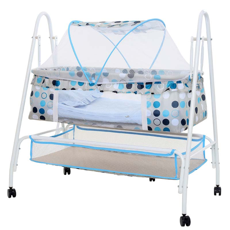 Baby cradle bed, multifunctional baby rocking bed, baby hammock swing with 4 wheels, baby cradle with mosquito net