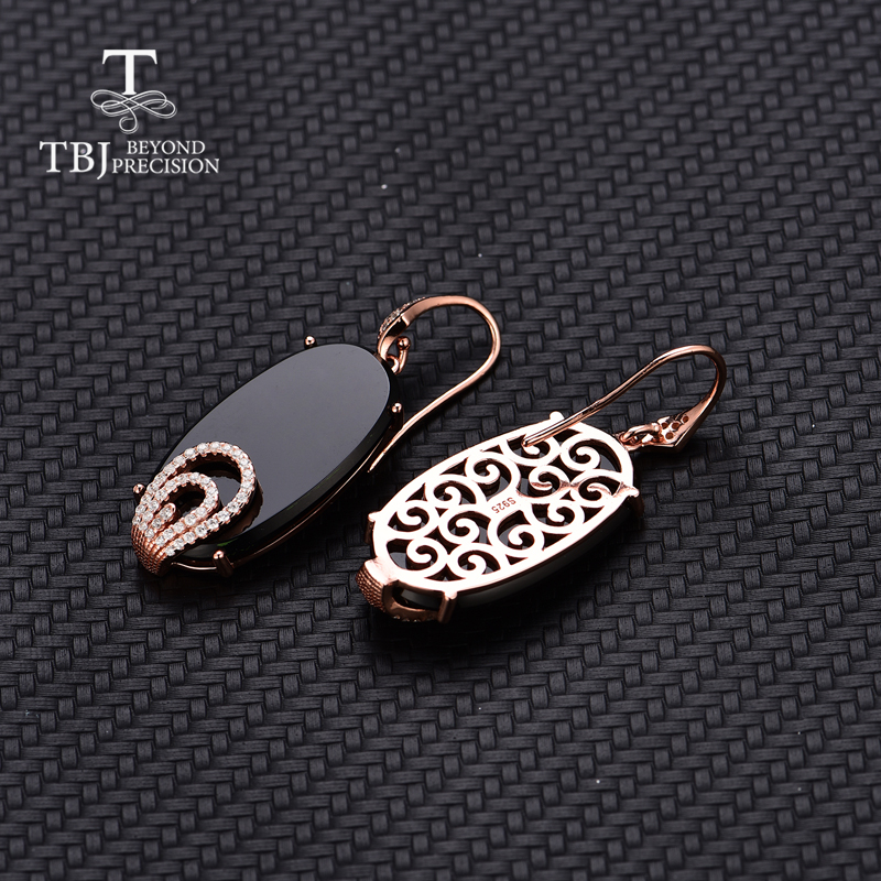 TBJ 2019 vogue hook long earring 26 4ct natural black agate onyx 925 sterling silver rose gold gemstone earring for lady gift in Earrings from Jewelry Accessories