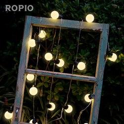20 led globo festão festa bola string luz ao ar livre luzes de natal led conectável luz de fadas casamento jardim festa guirlanda