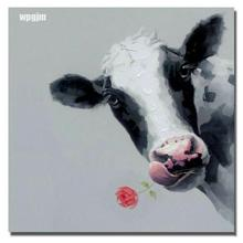 Cartoon Animal Modern Unframed Canvas Single Hand Painted Decorative Pictures Wall Oil Paintings Art Cow .Free Shipping