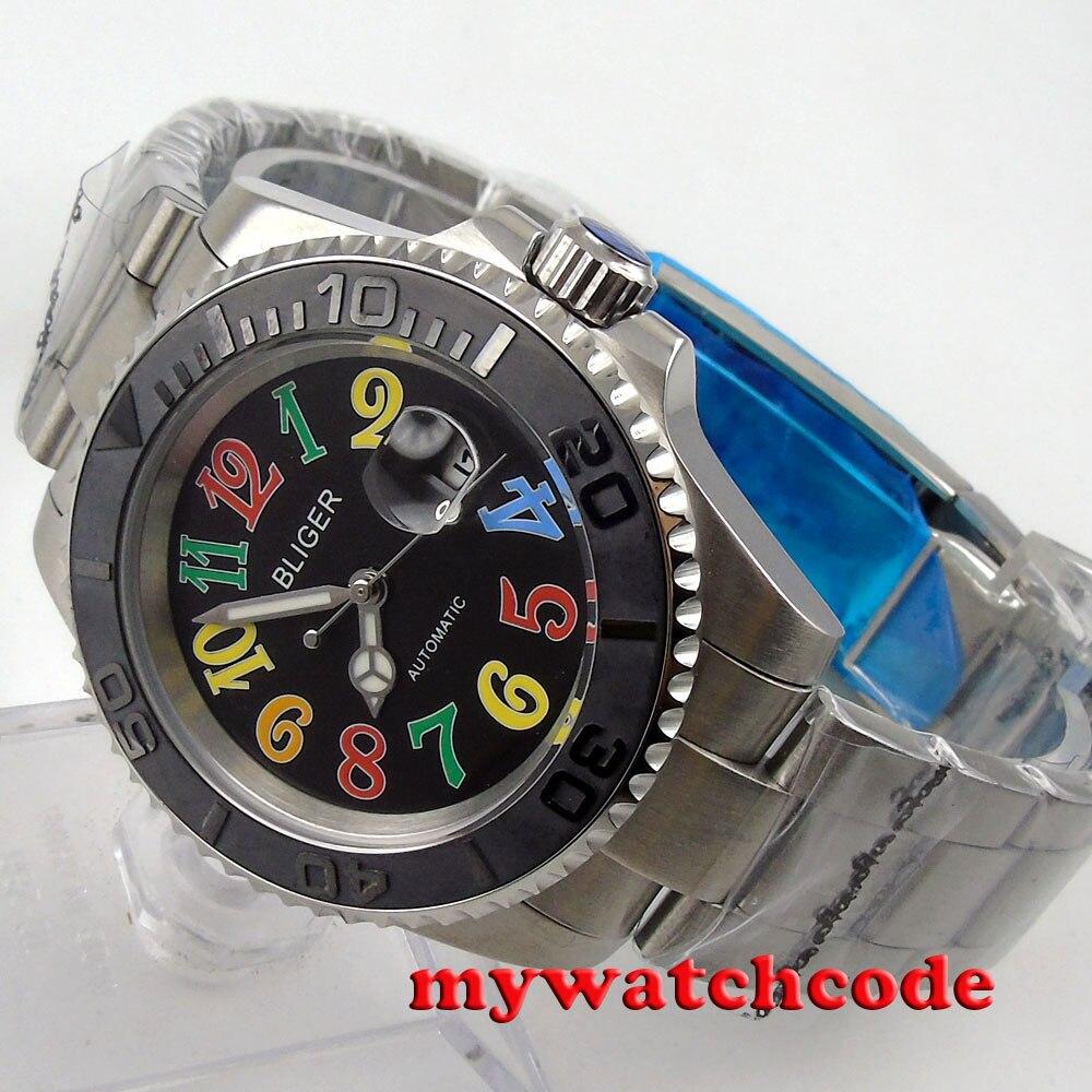 Здесь продается  40mm Bliger black dial colorized marks ceramic bezel date automatic mens watch72  Часы