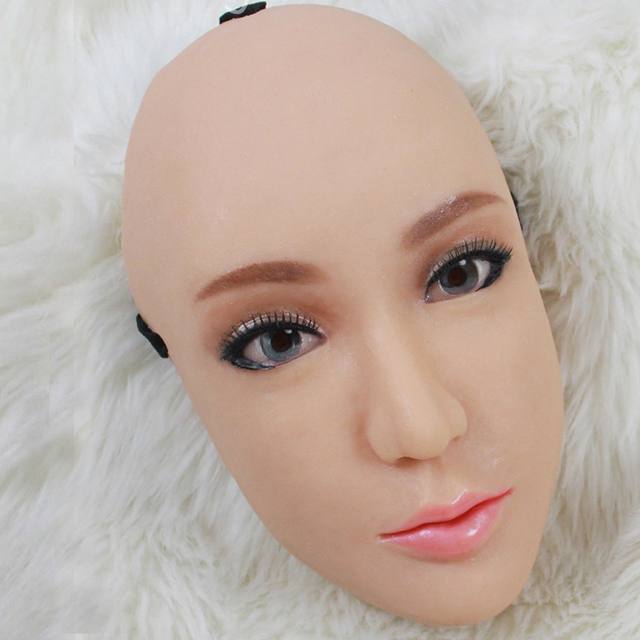 (CM291)Handmade Silicone Sexy And Sweet Half Female Face Ching Crossdress Mask Crossdresser Doll