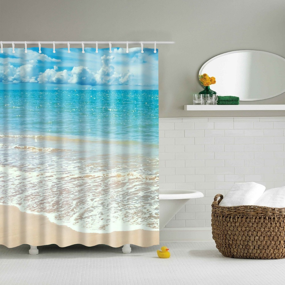 Blue bathroom curtains - 3d Beach Shower Curtains Polyester New Design Douchegordijn Rideau Douche En Tissu Bathroom Curtains Waterproof