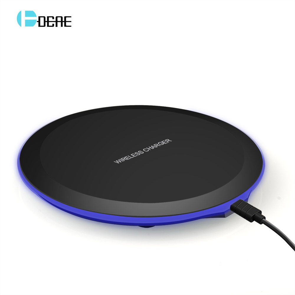 DCAE QI Wireless Charger Ultra Tipis Desktop Mini Wireless Pengisian Pad untuk iPhone XS MAX XR X 8 Ditambah Samsung Note 9 S9 S8 Xiaomi