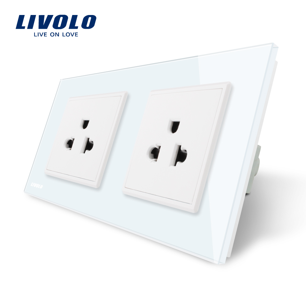 LIVOLO Manufacturer 16A US Socket Wall Electric / Power Double Socket /Plug, White Crystal Glass Panel,VL-C7C2US-11