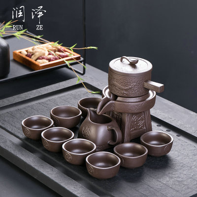 Chinese Yixing purple clay teapots semi-automatic kungfu tea set 11-peices(1 Teapot  8 Tea Cups 1teapot base 1serving cup)