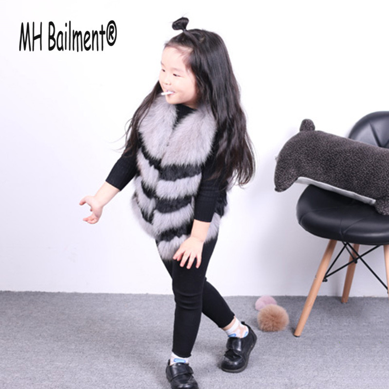 Children Real Rabbit Fox Fur Vest Girls Autumn Winter Thick Warm Short  Fur Clothing Vest Babys Solid V-Neck Striped Vests V#26 2016 rex rabbit fur vest girls lovely hooded rabbits short coat vest children s solid pink and white short o neck vest for baby