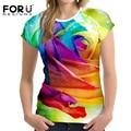 FORUDESIGNS Fashion Women T Shirt 3D Floral Rose Printed Short Sleeve Tshirt Woman Clothes Female Tops Novelty Flower T-Shirt