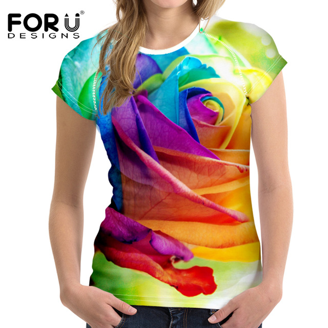 FORUDESIGNS Fashion Women T Shirt 3D Floral Rose Printed Short Sleeve Tshirt Woman Clothes Female Tops Novelty Flower T-Shirt