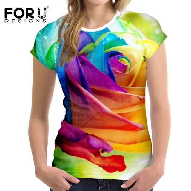 bdbbd536b63b FORUDESIGNS Fashion Women T Shirt 3D Floral Rose Printed Short Sleeve  Tshirt Woman Clothes Female Tops