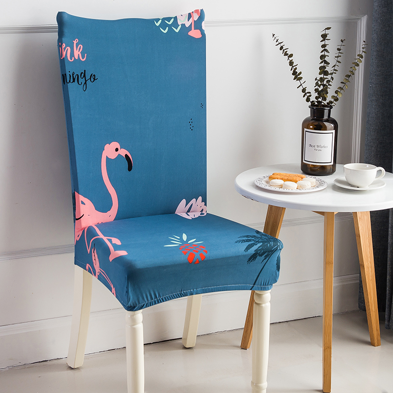 Tropical Flamingo Printing Spandex Elastic Dining Chair