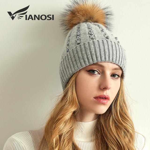 VIANOSI Thick Winter Hats For Women Fashion Fox Fur Pompom Caps Luxury  Pearl Wool Warm Beanies 85f25807754