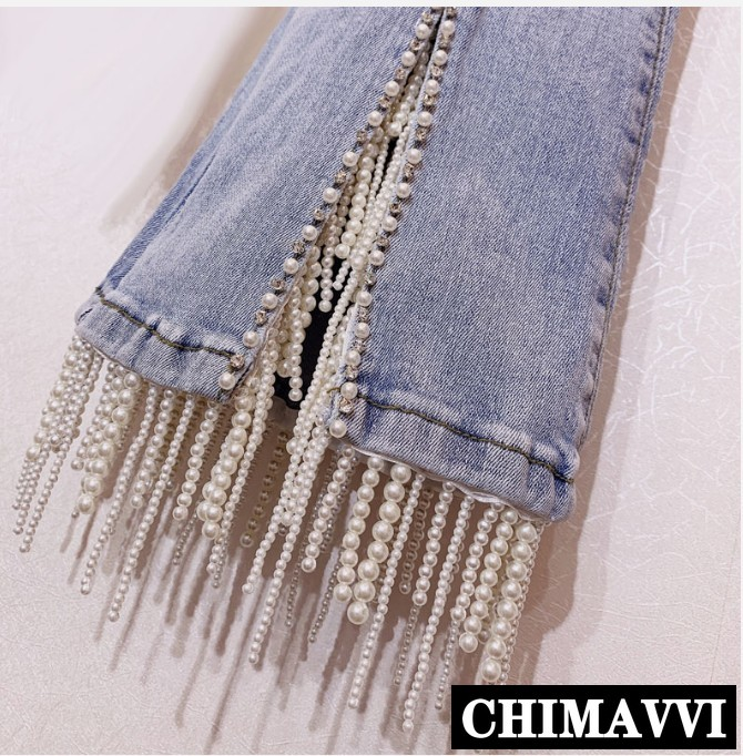 Pantalon Jeans taille haute frangé avec perle à ongles perceuse à eau pour femme bleu clair Stretch Slim pour femme pantalon évasé en Denim