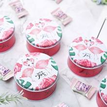 20pcs New Tinplate Round Sweet LOVE Candy Box Gifts Box Home Wedding Decoration Baby Shower Supplies Favors Kids Birthday Party(China)
