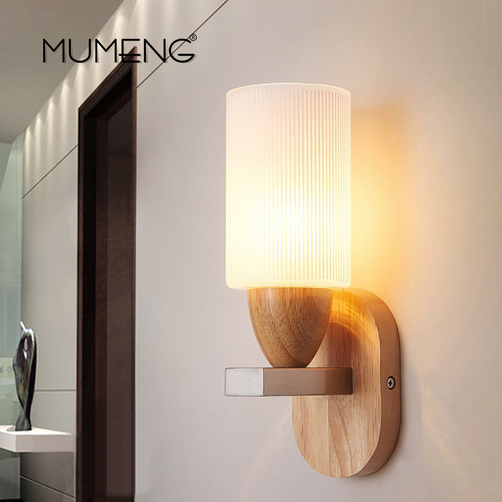 MUMENG Modern Creative Wood Wall Lamp E27 Bulb Nordic staircase lights For Living Room Bedroom Bedside Aisle Bedside lighting modern minimalist 9w led acrylic circular wall lights white living room bedroom bedside aisle creative ceiling lamp