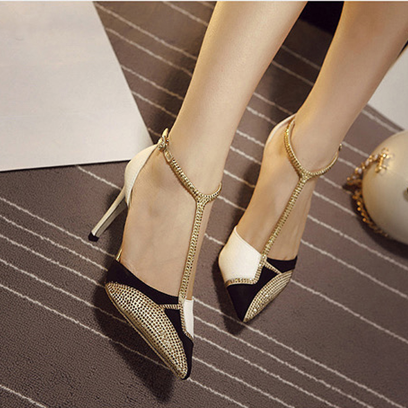 Fashion Angle Strap Thin High Heels font b Women b font Pumps Sexy Rhinestone Pointed Toe