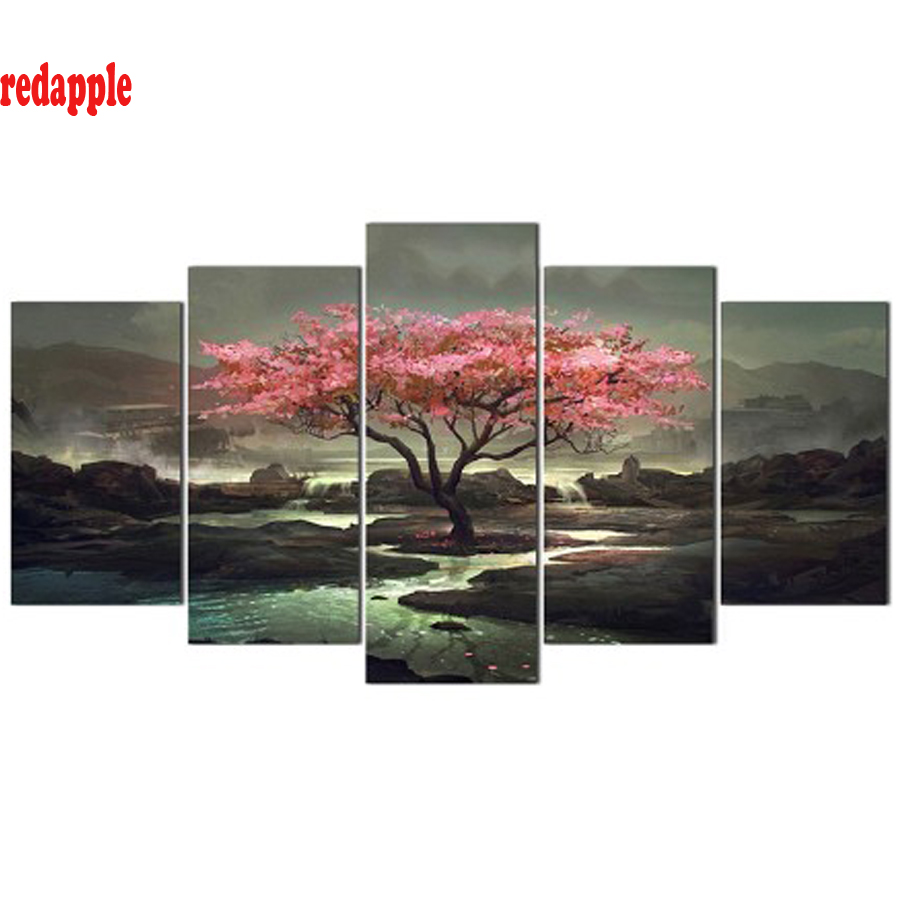 Modular Pictures Wall Art 5 Pieces diamond Painting Tree landscape full square round drill diy embroidery