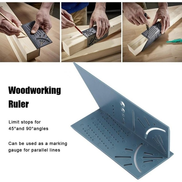 New Arrival Woodworking Gauge Ruler 3D Mitre Angle Measuring Square Measure Tool 45 Degree And 90 Degree With Carpenter Pencil