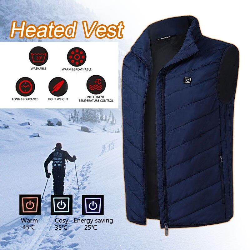 Электрический жилет с подогревом USB Горячая сжимающая нагревающая куртка пуховое хлопковое темно-синее 5-12 v одежда с подогревом куртка на подкладке с подогревом