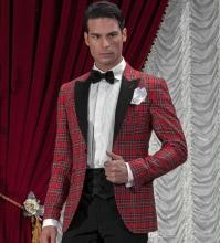 Black Red Men Tartan Suit Blazer Custom Made Haute Couture,Bespoke Tartan Plaid Fabrics Wedding Tuxedos For Men,2016 Tartan Suit