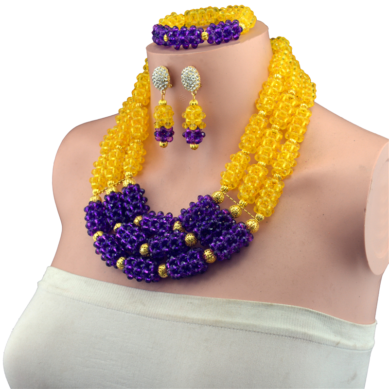 Fashion Nigerian Wedding African Beads Jewellry set Purple Crystal Necklace Bracelet Earrings Jewelry Set fashion white crystal beads necklace earrings bracelet nigerian wedding beads african jewelry set for women ddk014