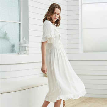 Victorian Style U Neck Ruffle Home Wear Night Dress Elegant High Waist Short Sleeve Nightgwon Plus Size Women Sleepwear T371