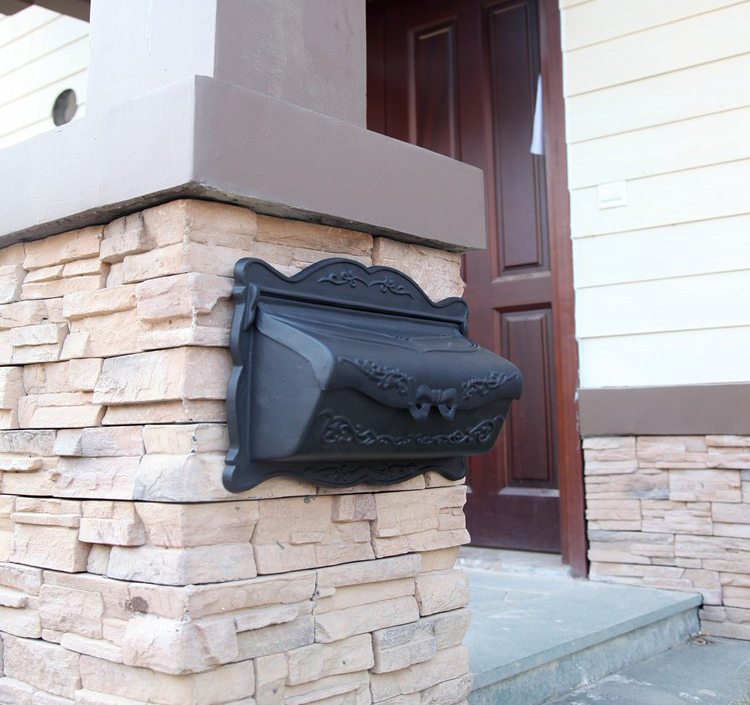 Գորշ սև եվրոպական փոստարկղի փոշի Գեղջուկ երկաթյա փոստով տուփ Նորաձևություն խաղողի բերք թիթեղով թերթի տուփ Փոստի տուփ ալյումին