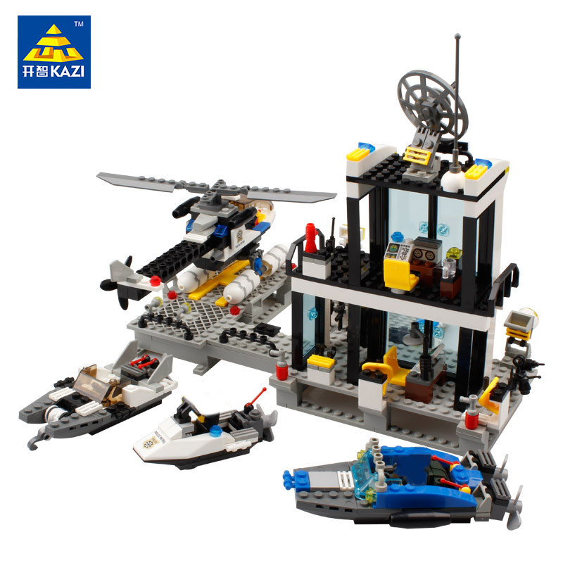 KAZI 6726 Water Police Station Building Blocks Toys For Children SWAT Policeman Bricks Toys Kids Christmas Gift lepin 631pcs city police station kazi 6725 building blocks action figure baby toys children building bricks brinquedos kid gift