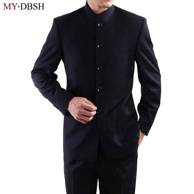 משלוח חינם 2019 גברים צווארון עומד ברוס לי וינטג מקרית Slim Fit חליפת סיני סגנון Mens בגדי חתונה חליפת מעיל + צפצף