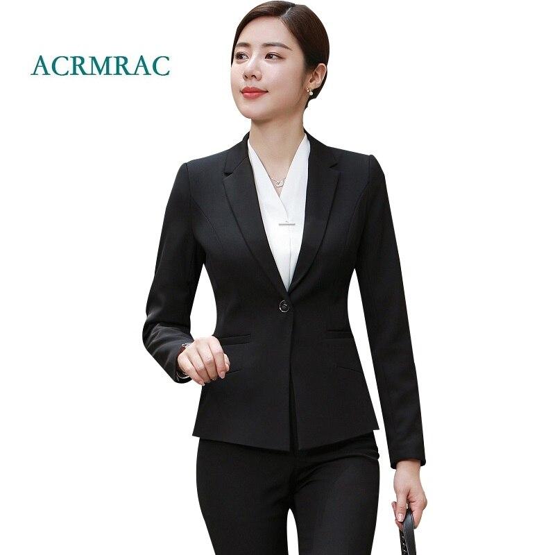 Acrmrac Women Suits Black Slim Long Sleeve Jacket Suit Pants Ol
