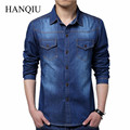 Plus Size Men Denim Shirts 5XL Cotton Slim Fit Pockets Camiseta Masculina 2017 Long Sleeve Blue Camisa Social Jeans Masculino