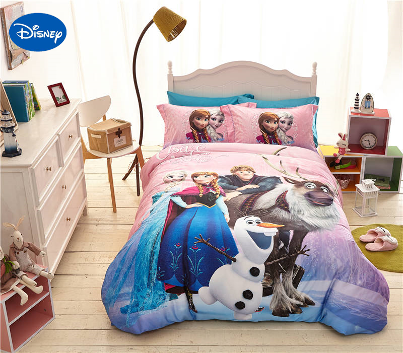 Disney cartoon frozen elsa anna kristoff print bedding for for Lit queen size taille