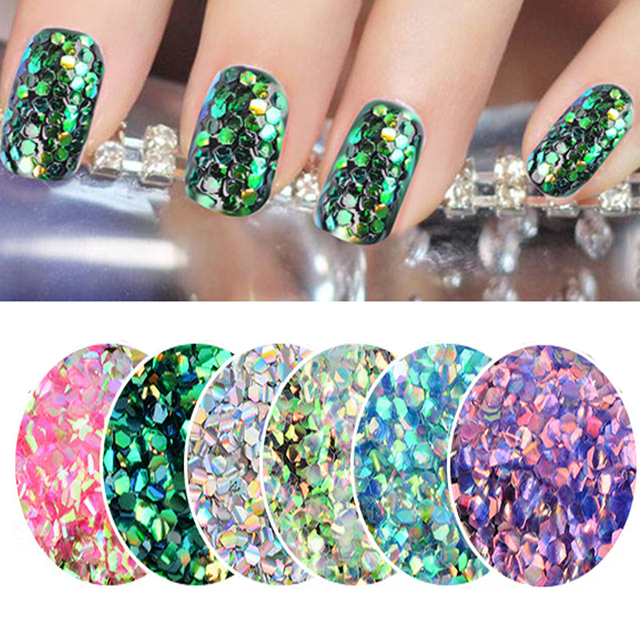 1 Pack Colorful Shining Fish Scales Nail Sequins Symphony Mermaid