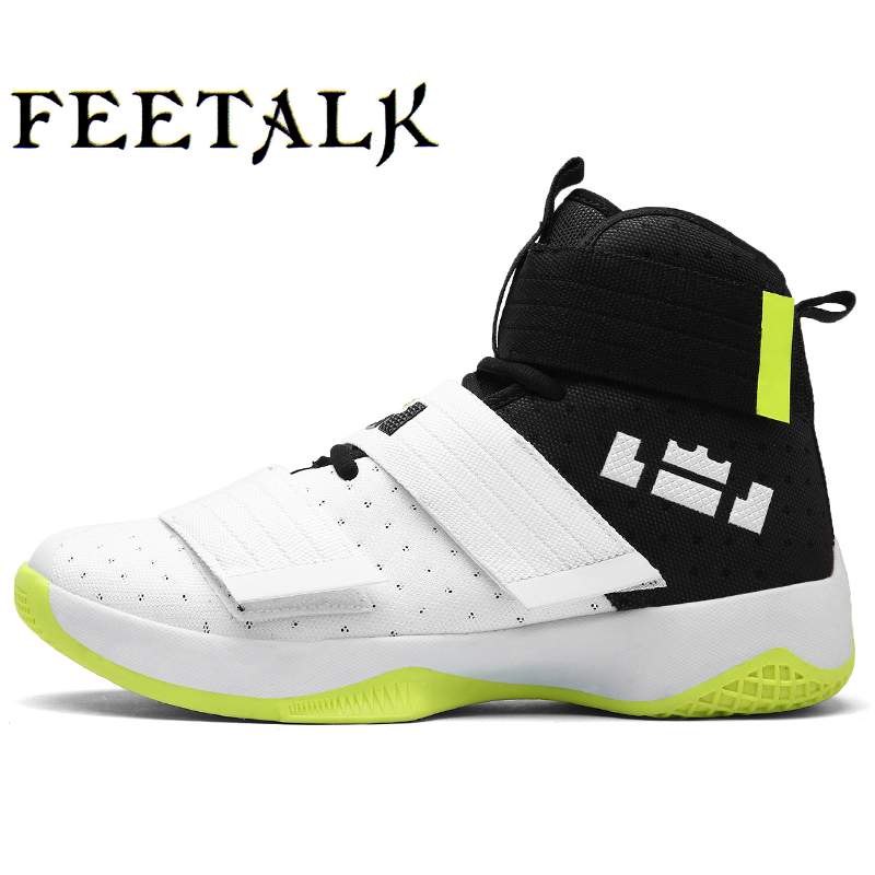 FEETALK Men's Basketball Shoes Cushioning Breathable High Sneakers Wear-Resistance Court Sport Shoes