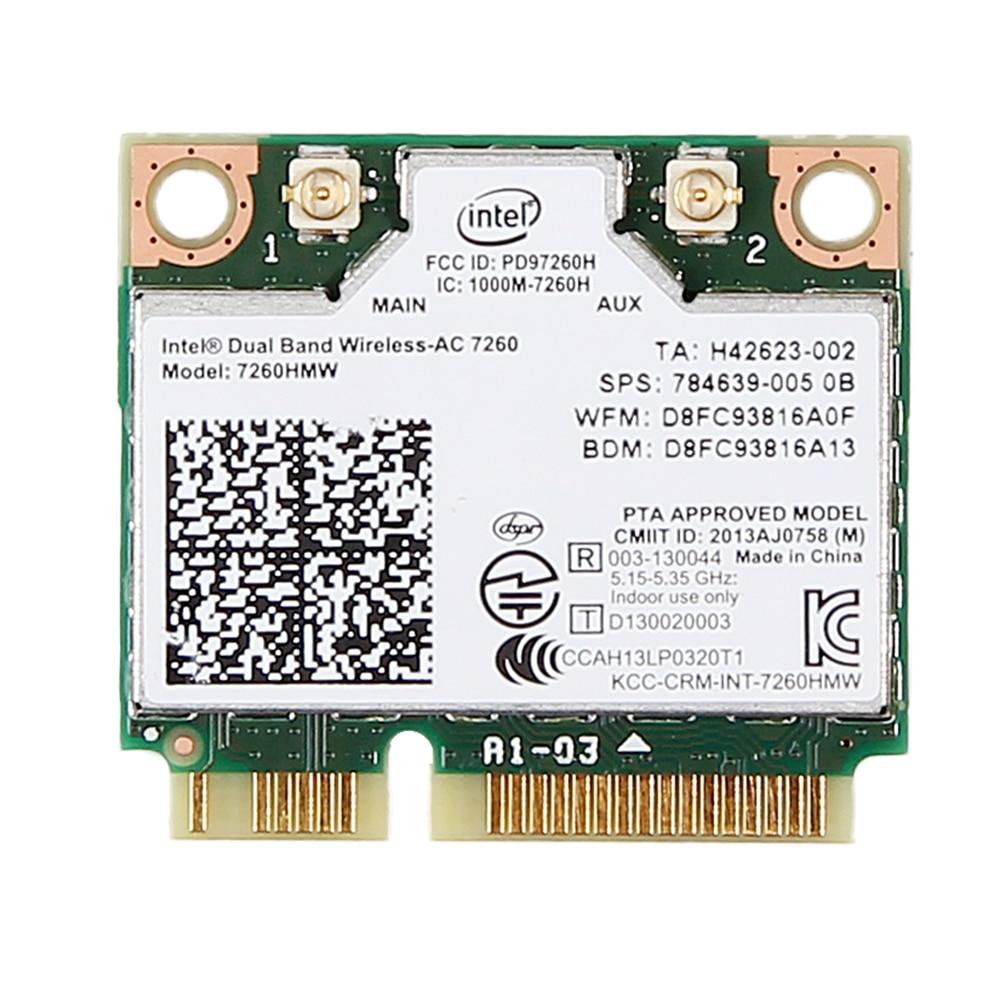 Network Bluetooth Card for Intel 7260HMW Dual Band Wireless-AC 7260 Network Adapter PCI Express Half Mini Card 802.11 b//a//g//n//ac