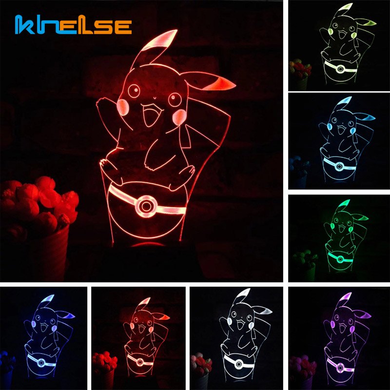 Pikachu 3D Atmosphere 7 Color Changing Lamp Pokemon Go Action Figure visual illusion LED Holiday Christmas