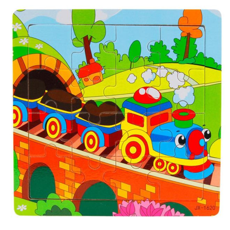 16Pcs/lot Wooden Cartoon the train Jigsaw Toys Kids Baby Boy Girl Early Education And Le ...
