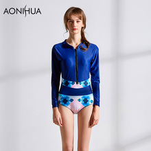 AONIHUA Women Bikini High Neck  Padded Swimwear Women Push Up One Piece Swimsuit Bodysuit For Female Swim Suit