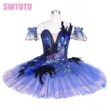 children navy blue swan lake ballet tutu women girls professional classical costume adult BT9240