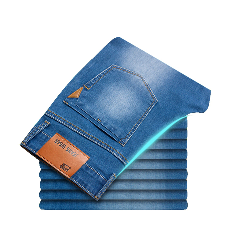 2019 Summer New Men Thin Light Jeans Business Casual Stretch Slim Denim Jeans Light Blue Trousers Male Brand Pants Plus Size