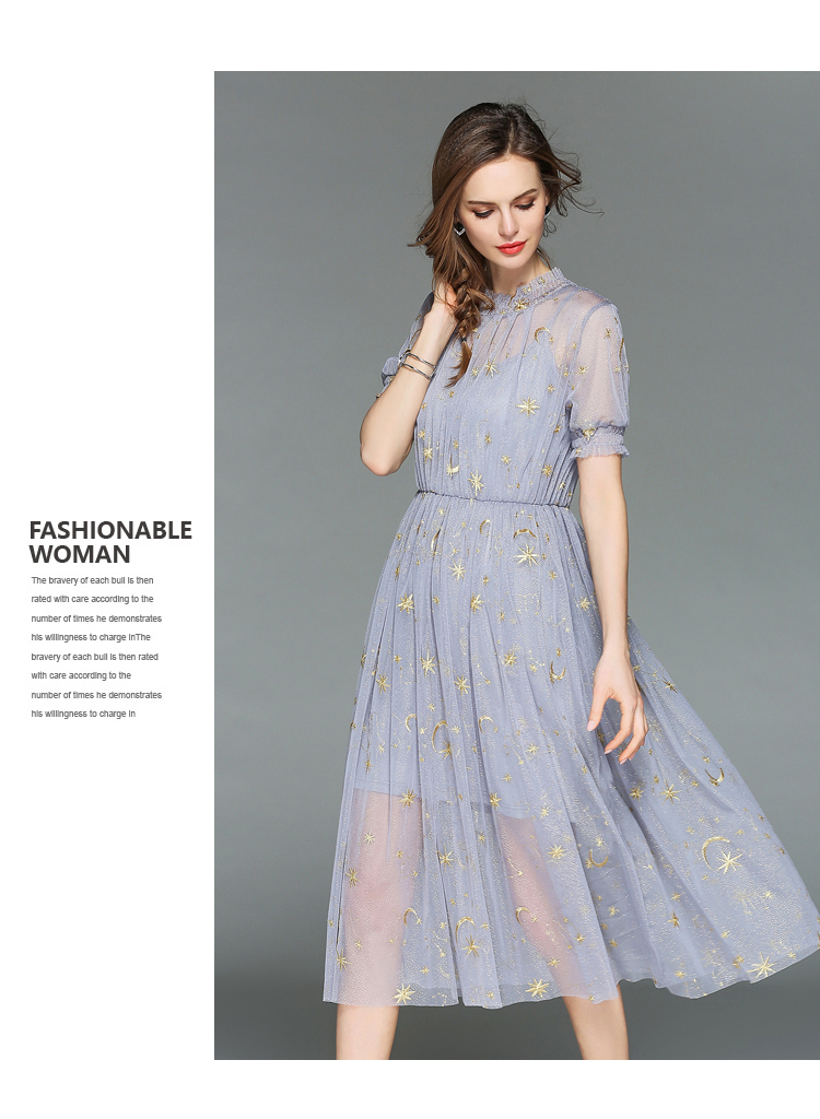 Fairy Summer Gauze Embroidered Dress Robe Ete 2018 Women Two Piece Midi Party Dress Vestiti Donna Sukienki Damskie K3288 6