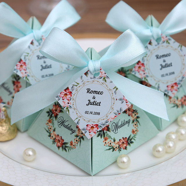 50 pcs free shipping pink purple tiffany blue floral pyramid wedding favor candy boxes