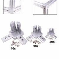 10 pcs 3-way Canto Final conector Suporte para t slot de perfil de extrusão de alumínio uso em série 3030