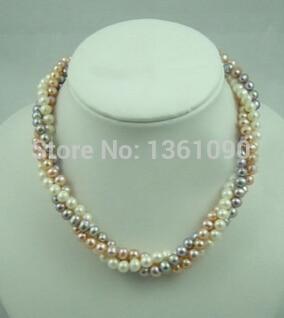 0001015 3 Reihen Echt Echtes Weiß Rosa Lila Perle WGP Verschluss Halskette