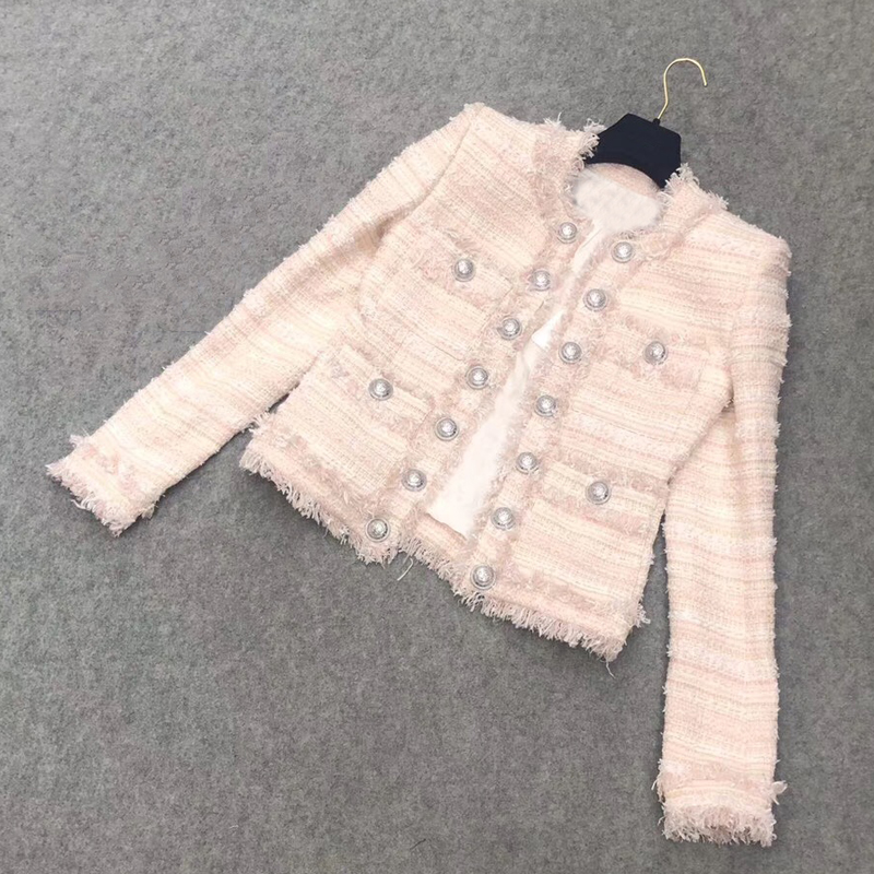 Single Breasted Pink Jacket for Women long Sleeve O neck High Quality Elegant Lady Solid Coat